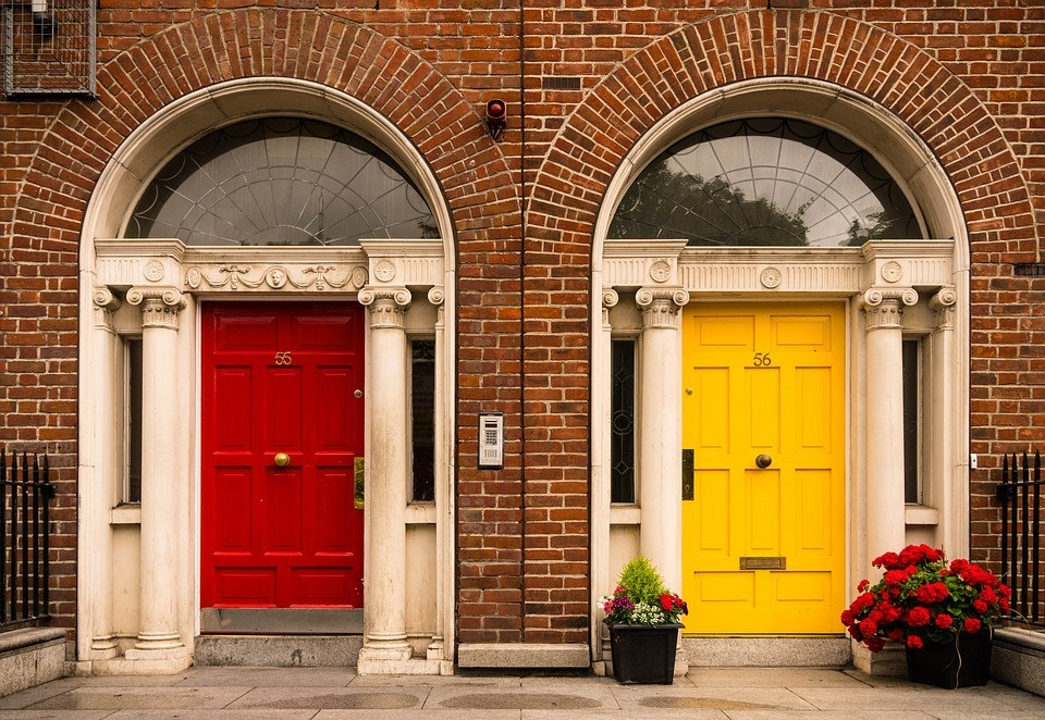The Red and yellow apartment Doors in london