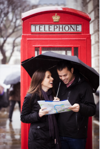 Couple looking map at london