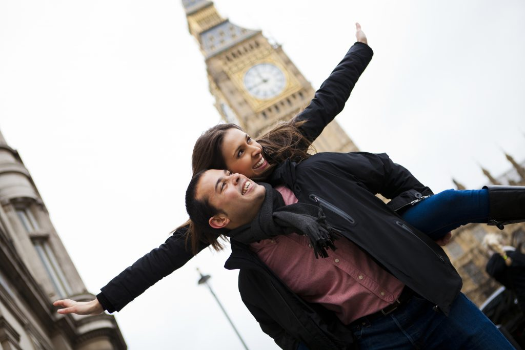 Young happy couple on their honeymoon in London