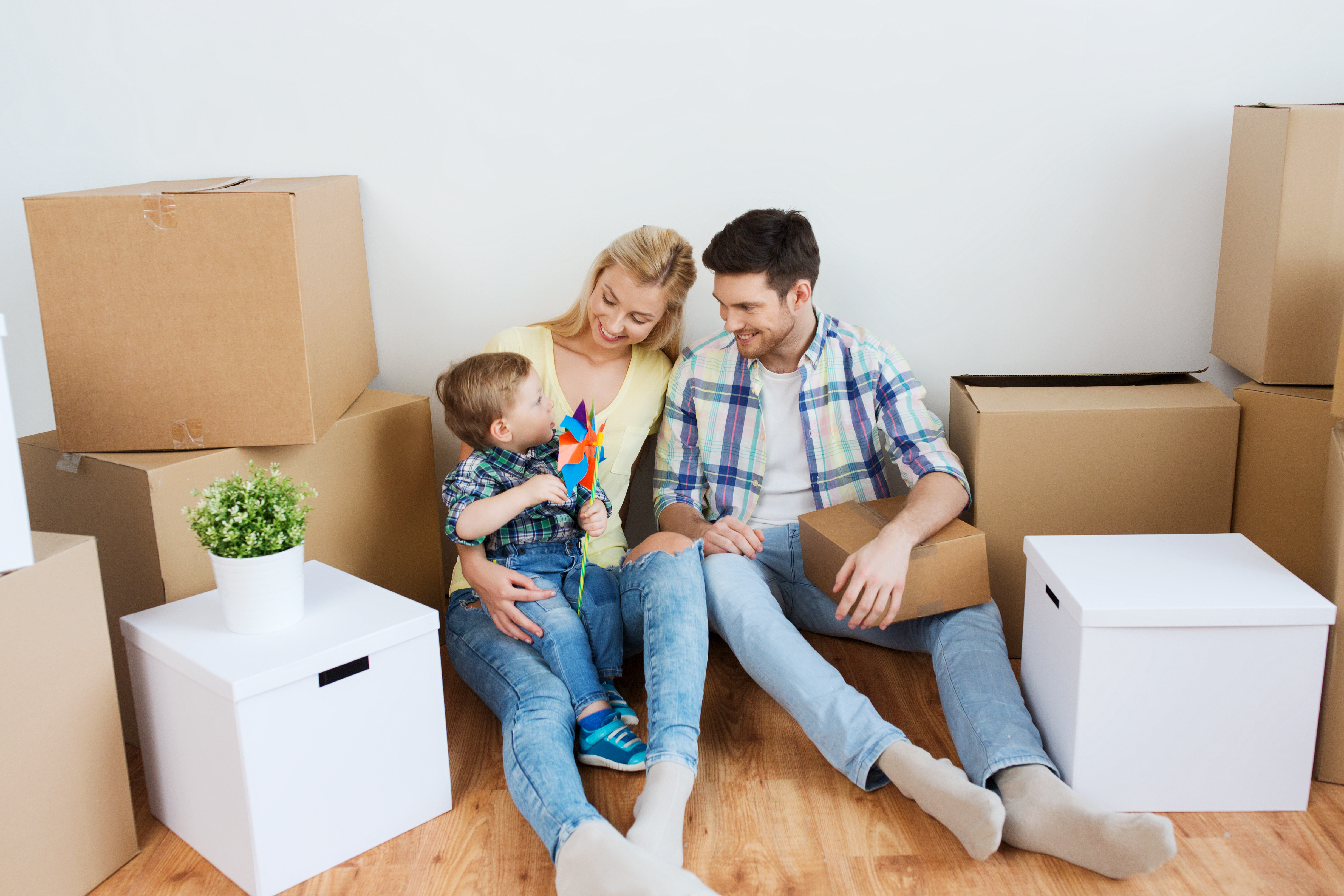 Happy family moving in Europe