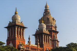 Towers and domes of the High Court in Chennai, India.