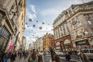 Shopping street in Oxford Circus